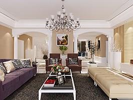 歐式客廳沙發背景墻設計圖