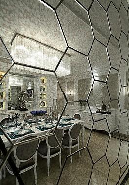 歐式餐廳背景墻設計圖