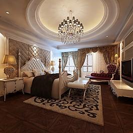豪華臥室吊燈大床設計圖