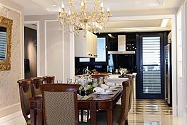 歐式時尚餐廳餐桌設計圖