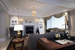歐式客廳電視墻設計圖