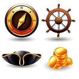 指南針與方向舵海盜元素矢量素材