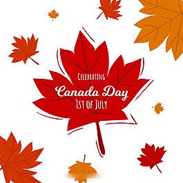 加拿大天國慶日秋天楓葉背景