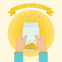 雙手拿著裝著金幣的玻璃罐圓形黃色背景