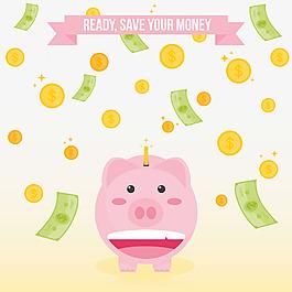 儲錢罐與鈔票硬幣背景