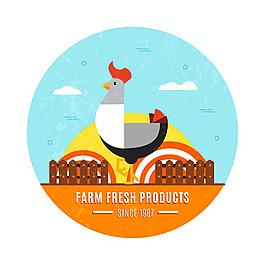 公鸡农场平面设计背景