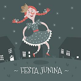 女孩跳舞插圖節日背景