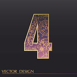 數字4裝飾圖案背景