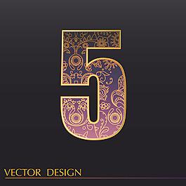 數字5裝飾圖案背景