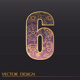 數字6裝飾圖案背景