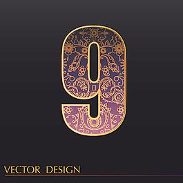 數字9裝飾花紋背景