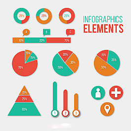 彩色信息圖元素矢量素材