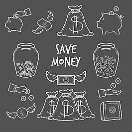 手繪粉筆效果錢袋子存錢罐金幣矢量素材