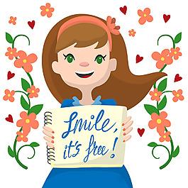 微笑拿著本子的女孩鮮花裝飾背景