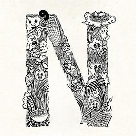 手繪字母N裝飾圖案背景