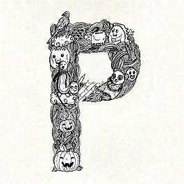 手繪字母P裝飾圖案背景