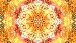 橙色夢幻花紋壁紙設計圖片