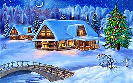 冬季卡通背景設計圖片