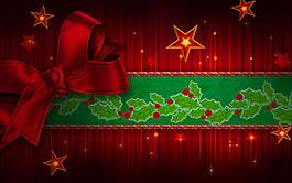 紅色蝴蝶結和星星圖片