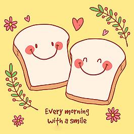 可愛的烤面包表情符號浪漫背景