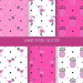 粉紅色夏天元素圖案集合