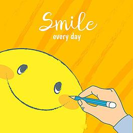 人畫笑臉微笑橙色背景