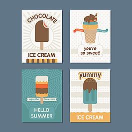 幾個冰激凌插圖卡片