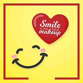 漂亮的微笑紅色心臟背景