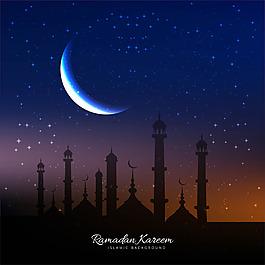 清真寺剪影月亮齋月背景