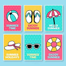 各種夏季元素卡片集合
