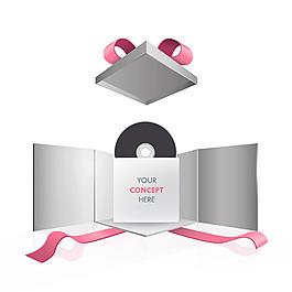 手繪音樂cd光盤包裝盒矢量素材