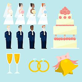 手繪各種婚禮元素矢量素材