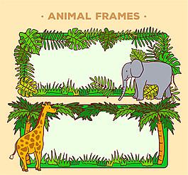 2款創意野生動物空白框架矢量素材
