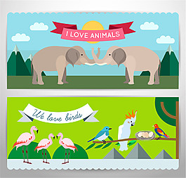 2款卡通多種動物banner矢量素材