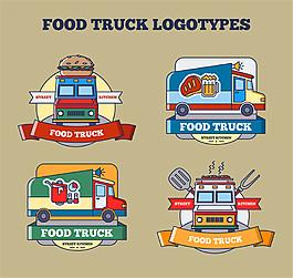 4款彩繪可移動餐車標志矢量素材