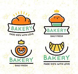 4款彩色面包店標簽矢量素材