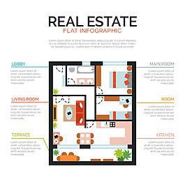 創意房屋戶型圖設計矢量素材