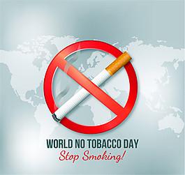創意世界戒煙日海報矢量素材