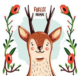 卡通花卉和鹿矢量素材