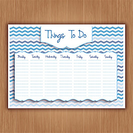 空白一星期計劃表矢量素材
