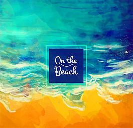 水彩繪海邊沙灘風景矢量素材