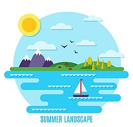 扁平化夏季海邊風景矢量素材