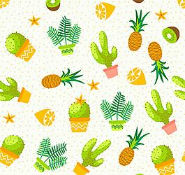 水彩繪水果和多肉植物無縫背景矢量圖
