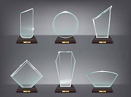 水晶透明獎杯卡通矢量素材