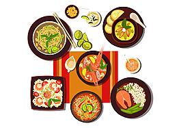 矢量卡通美食泰國菜商業扁平裝飾圖案素材