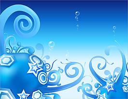 手繪藍色花紋背景
