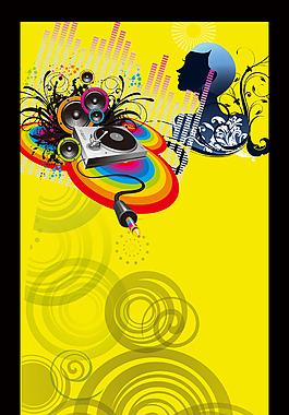 手繪人物花紋黃底背景