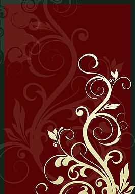 手繪白色花紋紅底背景