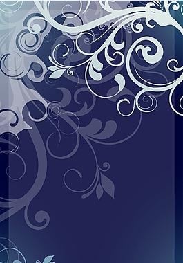 手繪白色花紋藍底背景