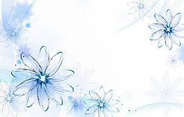 清新藍色花朵背景
